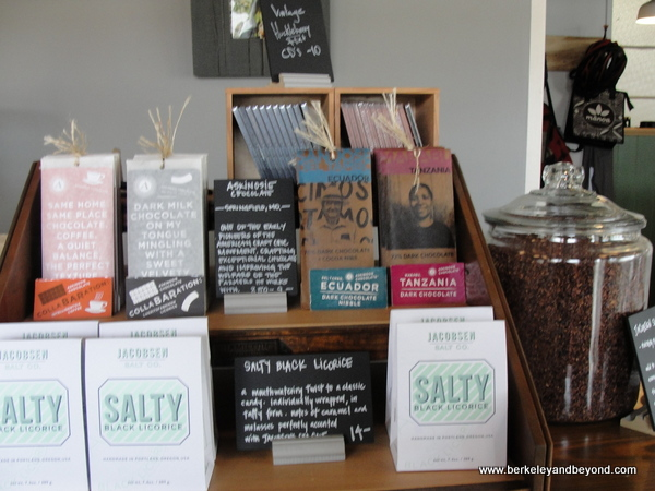 chocolate products at Dick Taylor Craft Chocolate in Eureka, California