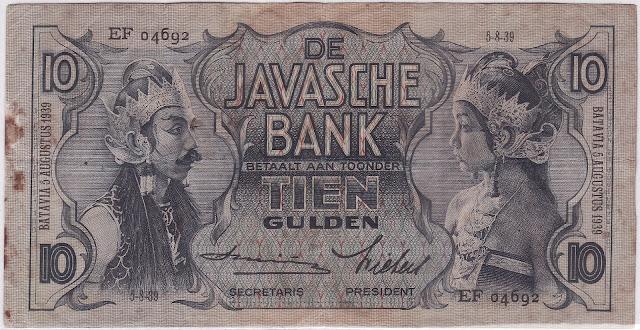 10 gulden seri wayang tanda tangan smits tahun 1939