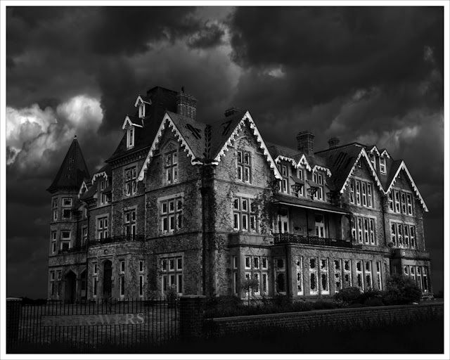 clacton on sea, the towers, photoshop manipulation, derek anson, photographer, essex, black and white, monochrome,