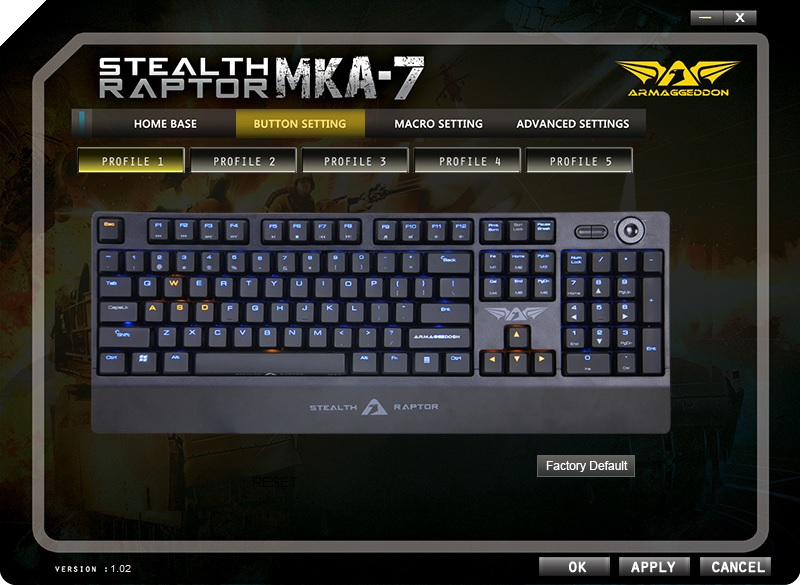 Armaggeddon Stealth Raptor MKA-7 Mechanical Gaming Keyboard 48