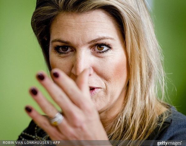 Queen Maxima of The Netherlands met with students as she visits, as patroness of the Oranje Fonds