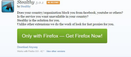 Tải Add-on Steathy trên Firefox