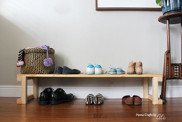 diy shoe bench with shoes in living room