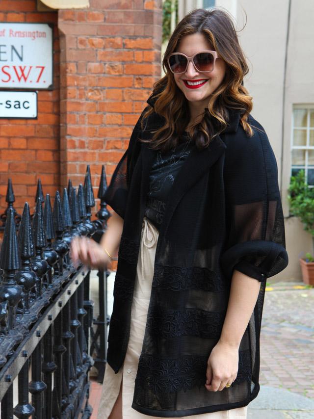 Marina Rinaldi Black Jacket, gold shoes, drawstring midi skirt, rock t-shirt