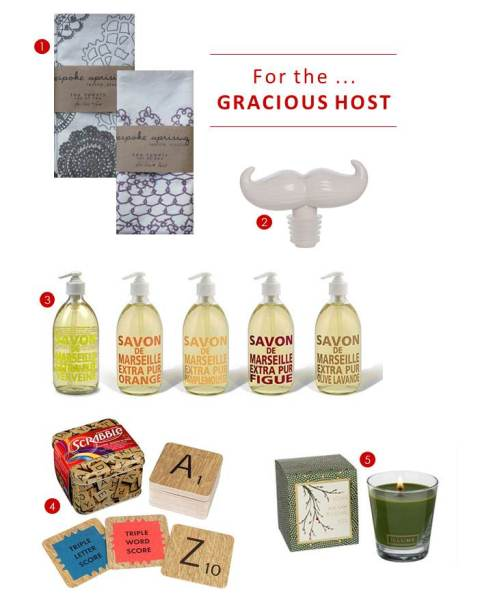 bespoke tea towels, jonathan adler bottle stopper, savon de marseilles soap, scrabble coasters, candle