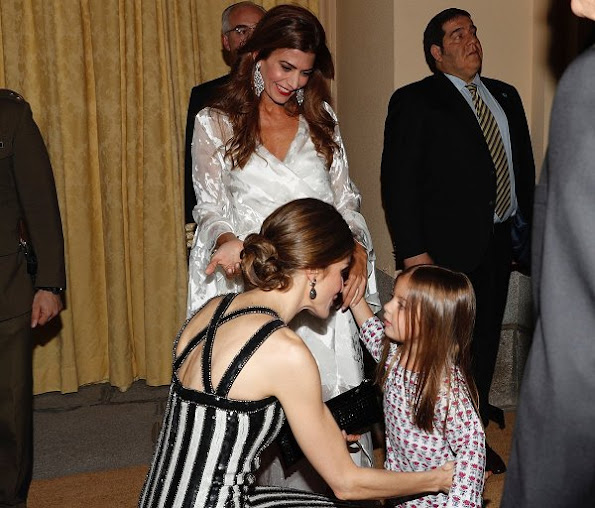 Queen letizia wore Nina Ricci Line dress, Grisogono Black Diamond Earrings, Magrit Pump. Juliana Awada wore Valentino tulle Lace gown