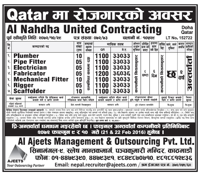 Jobs in Qatar for Nepali, Salary Rs 33,033
