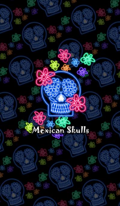 Mexican Skulls -Neon style-