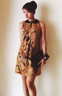 Mini dress batik konsep santai tanpa lengan untuk remaja
