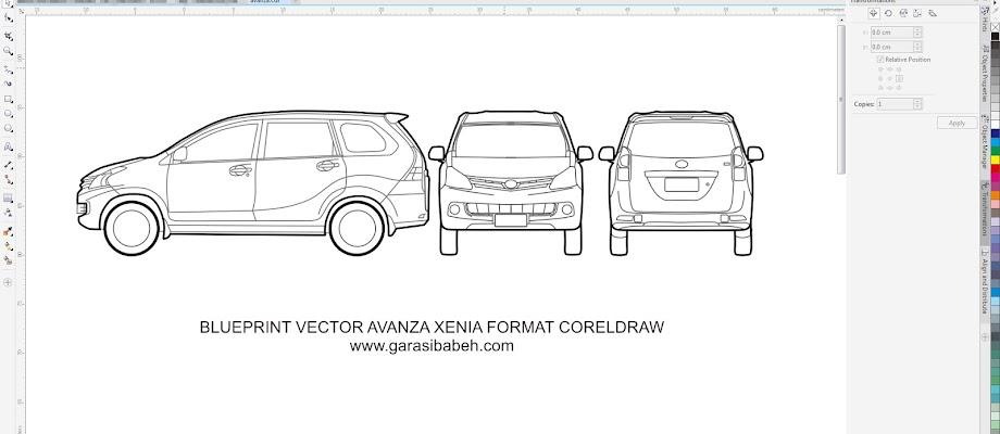 avanza xenia template branding blueprint format coreldraw
