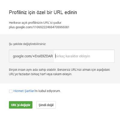 Google Plus özel url fiyaskosu