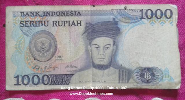 Gambar Mata Uang Kertas RI Rp 500,- Tahun 1987 bergambar Pahlawan Sisingamangaraja XII
