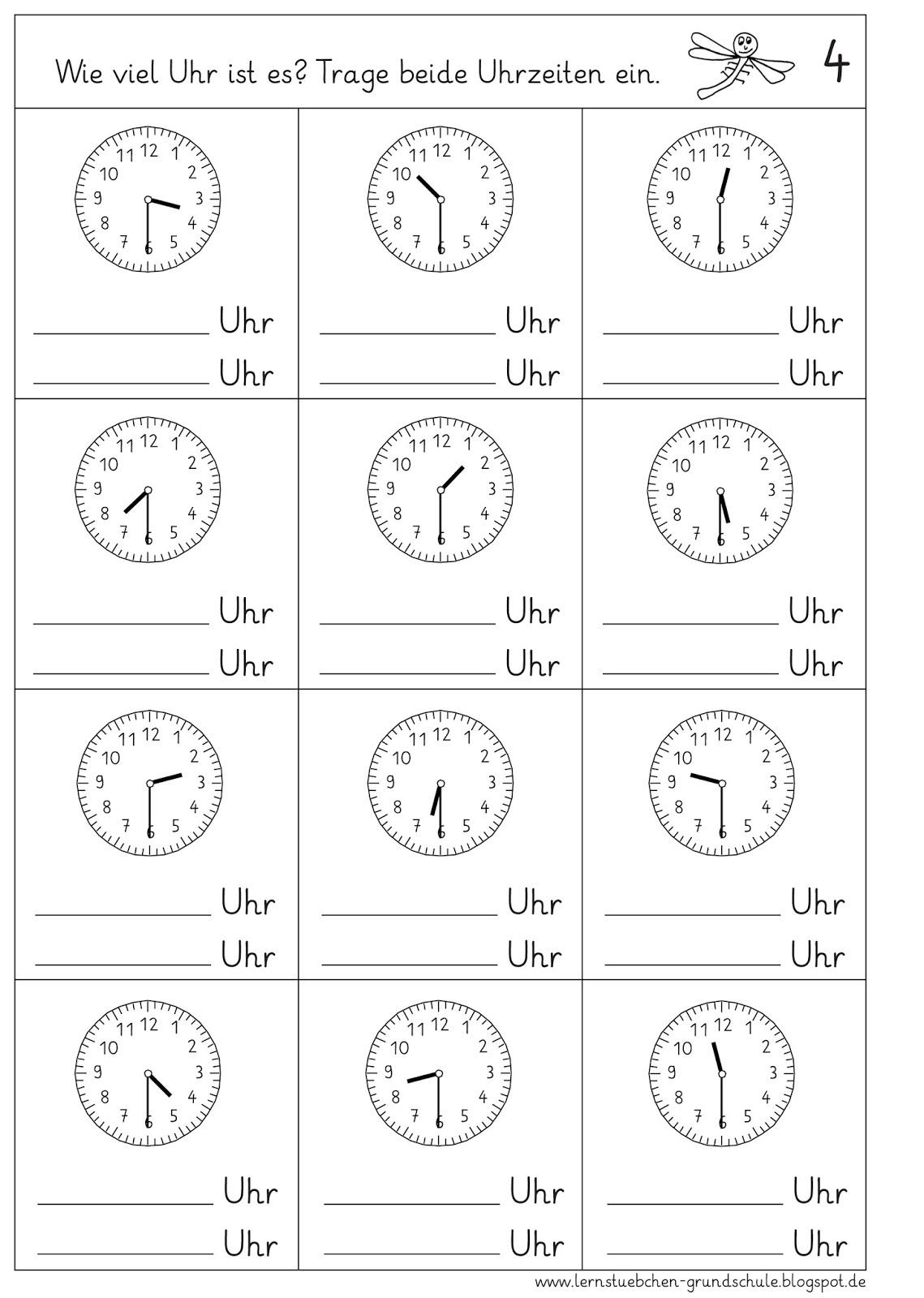 Arbeitsblatt Uhrzeiten Ablesen : Lernstübchen uhrzeiten ablesen halbe stunden