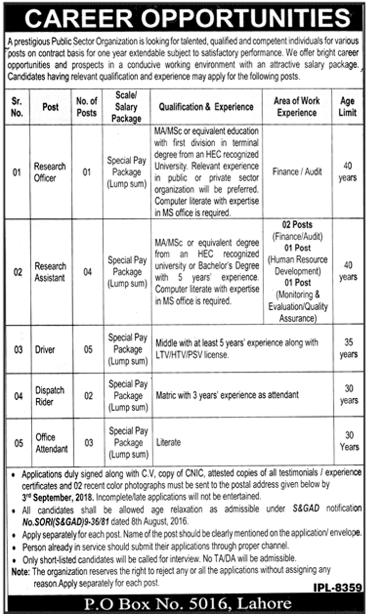 Public Sector Organization Lahore Jobs August 2018 - Naya Pakistan