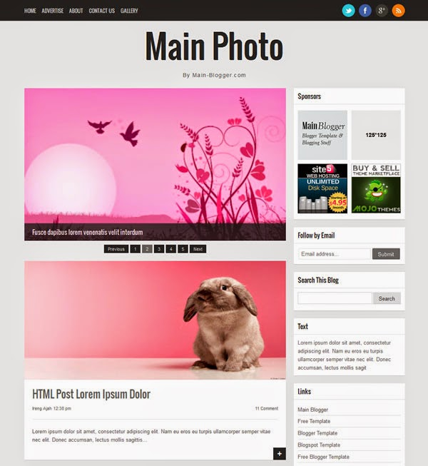 main photo responsive ads ready Blogger Template 2014 for blogger or blogspot,download free responsive blogger template 2014 2015,ads ready blogger template 2014