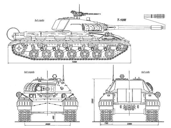 Общий вид танка Т-10М справа, спереди и сзади