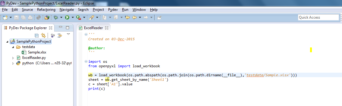 Python - Read excel sheet cell value using 'openpyxl