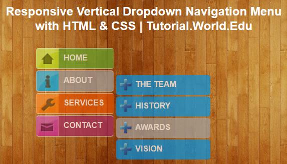 Create Responsive Vertical Dropdown Navigation Menu with HTML & CSS