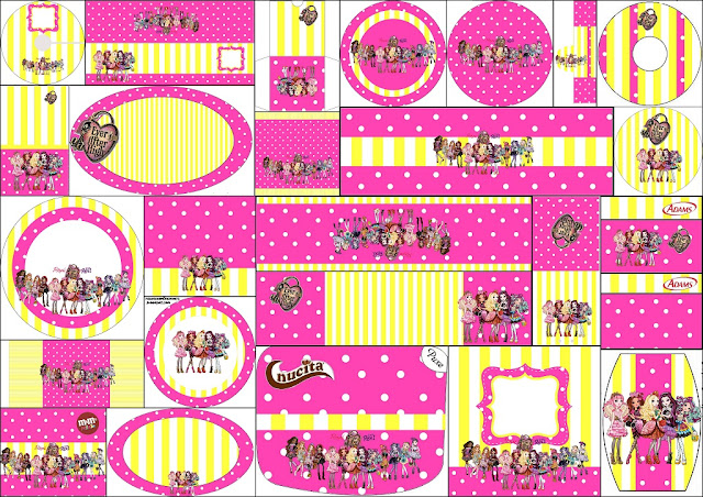 Ever After High Yellow and Pink: Free Printable Candy Bar Labels.