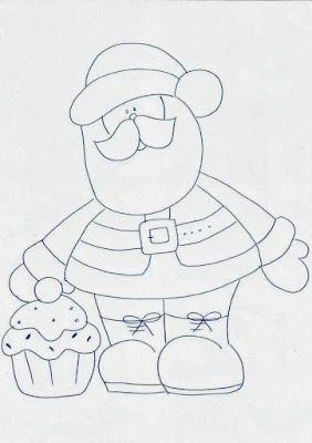 desenho de papai noel com cupcakes para pintura em tecido