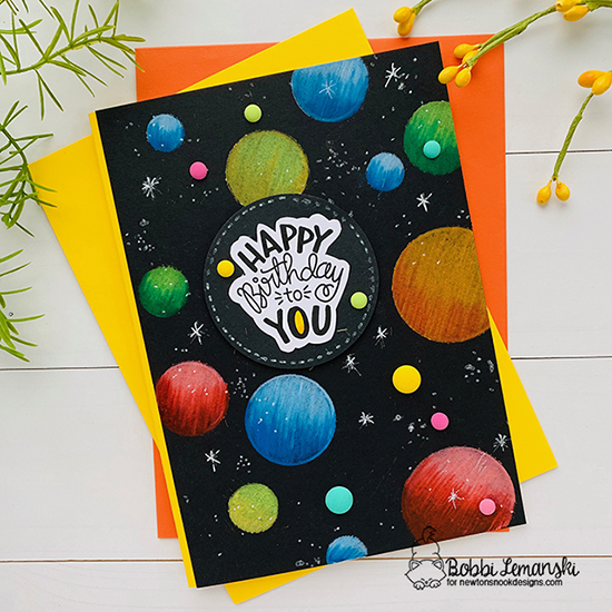 Happy Birthday by Bobbi features Uplifting Wishes and Bokeh by Newton's Nook Designs; #newtonsnook