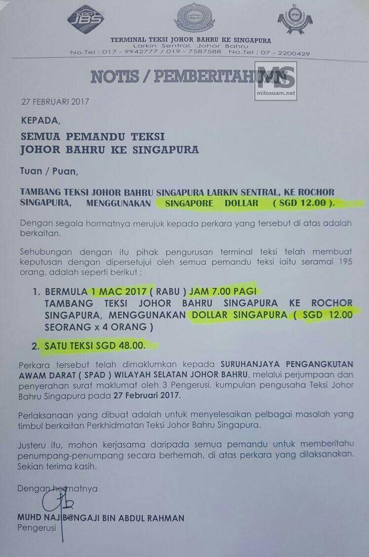 Teksi Johor Bahru Kenakan Tambang Dalam Matawang Singapura Sgd