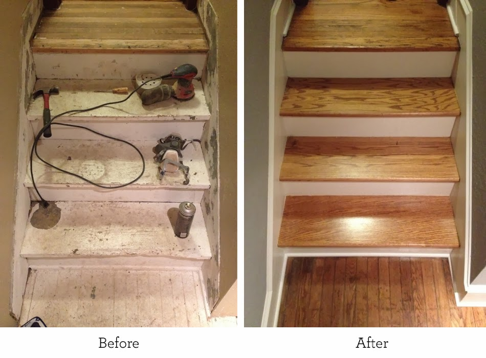 Before And After Kansas City Refinishing The Basement Stairs