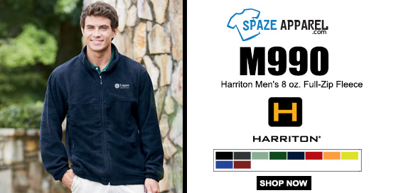 Harriton M990 Men's 8 Oz. Full Zip Fleece Jacket