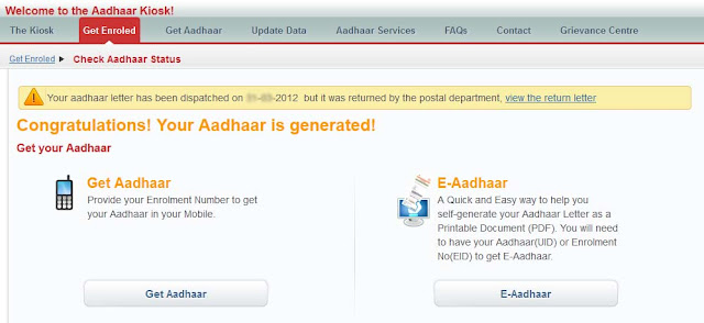 Aadhar Card Application Status