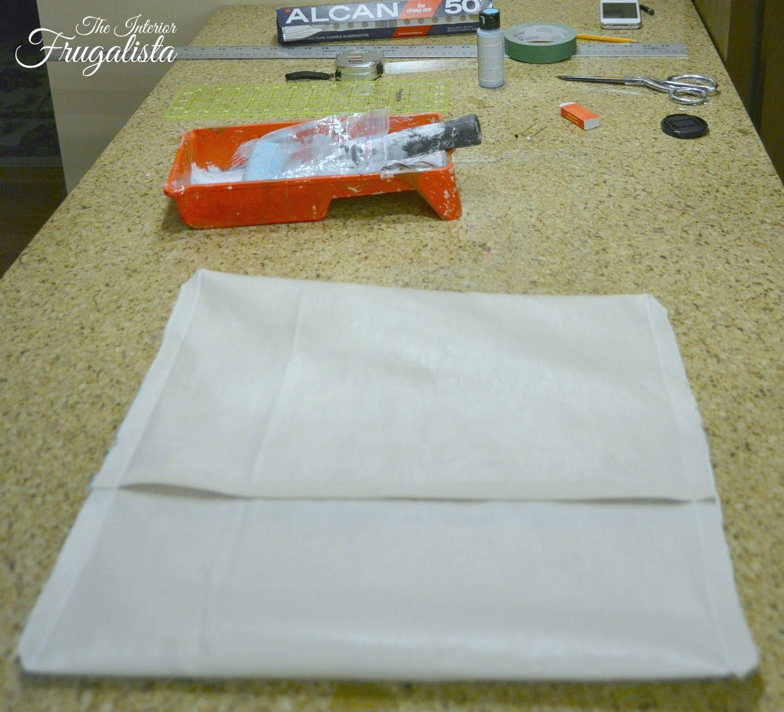 Sewing seams together on Vintage Pearl Earring Envelope Pillow