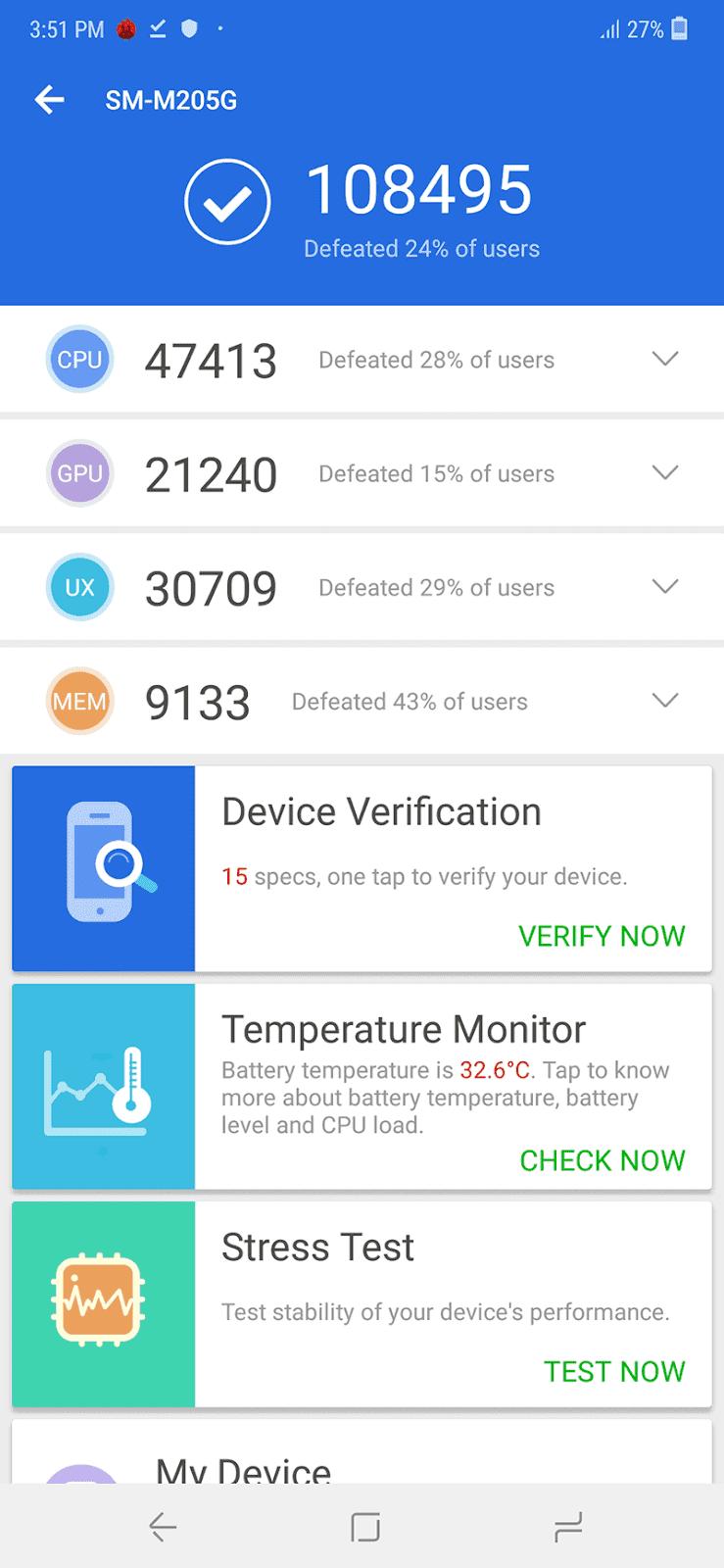 Samsung Galaxy M20's AnTuTu benchmark score