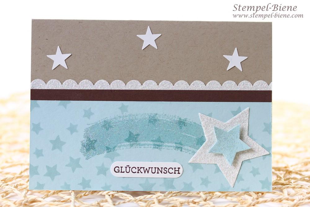 Stampin' Up Glitzerpapier Diamantengleißen, Stampin' Up Framelits Sternen-Kollektion, Sternschnuppe basteln, Grußkarte, Stampin Up Sammelbestellung, Match the Sketch