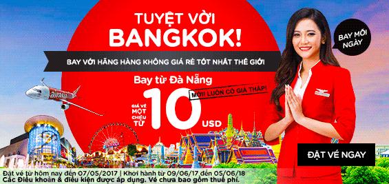 Air Asia khuyến mãi từ Đà Nẵng đi Bangkok giá chỉ từ 10 USD