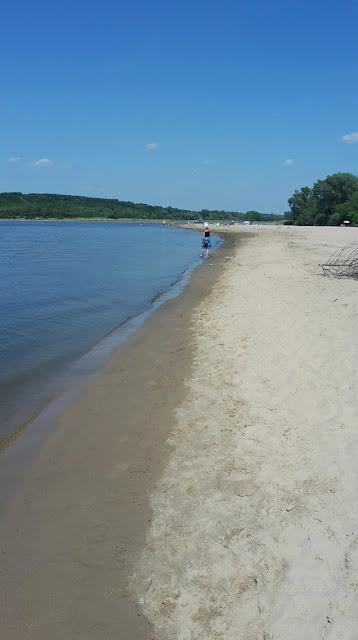 Kazimierz Dolny, prom, plaża, Wisła, piasek, łacha Wiślana