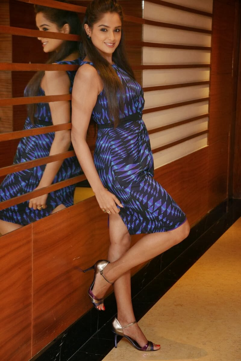 Hot Asmitha sood pics in short blue dress