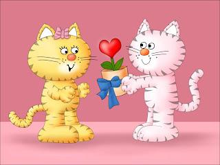 Ilustración de pareja de gatitos con flor