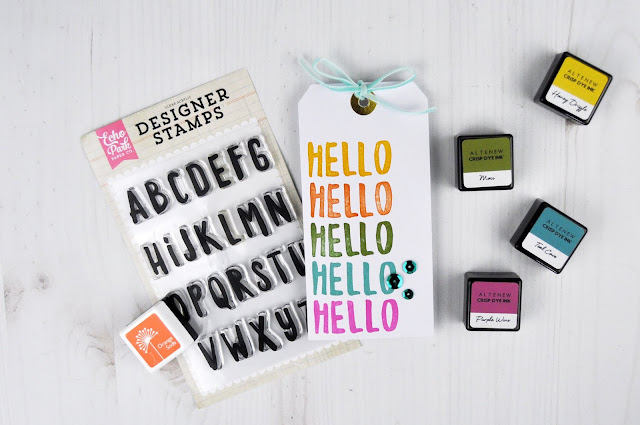 """Hello"" Stamped tag by Jen Gallacher using an alphabet stamp set from Echo Park Paper. #stamping #tag #cardsentiment"