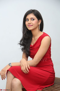Mounika Telugu Actress in Red Sleeveless Dress Black Boots Spicy Pics 018.JPG
