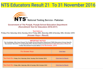 NTS Educators Result 21  To 31 October 2016