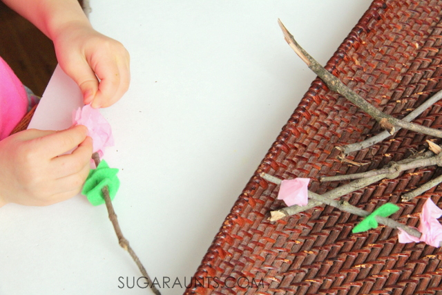 cherry blossom fine motor activity for Spring.