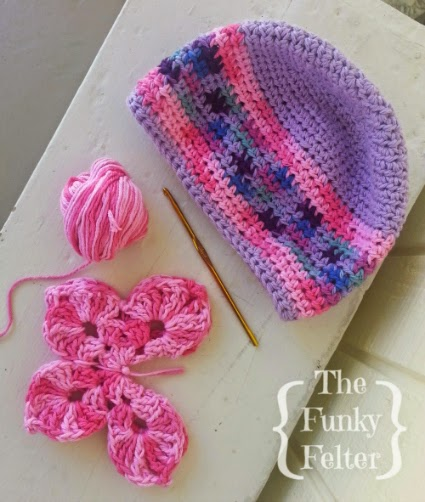crocheting kids beanie cap and butterfly embellishment by the funky felter