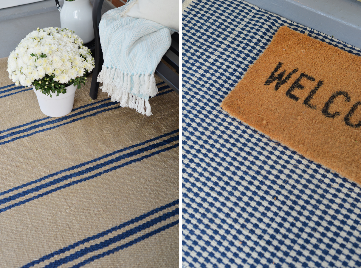Annie Selke Indoor Outdoor rugs, Lexington and McGregor blue camel rugs