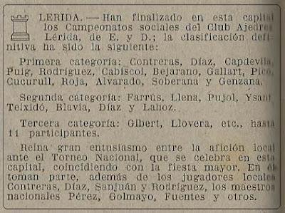Torneo social de Lérida 1948, nota en la revista Ajedrez Español