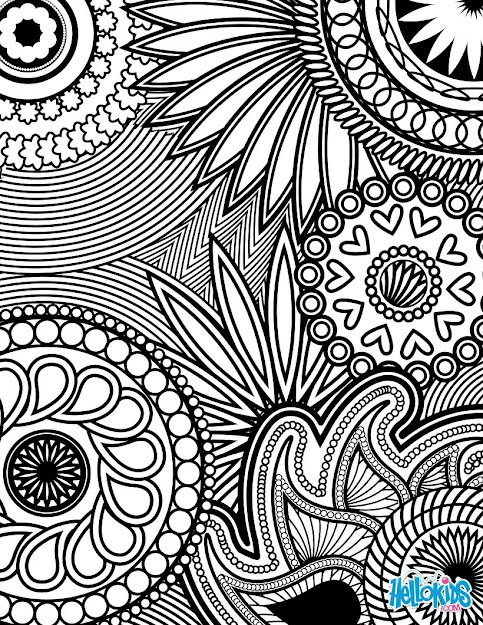 Paisley Hearts And Flowers Anti Stress Coloring Design Coloring On Coloring  Pages For Adults Abstract Flowers