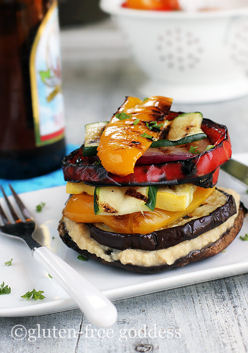 Grilled Vegetable Stack with Homemade Lemon Hummus