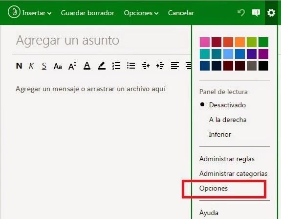 Incluir una firma en tus mail de Outlook.com