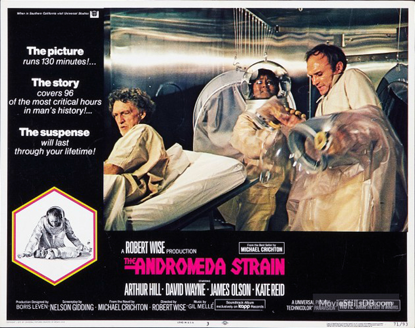 essay on andromeda strain Essay the andromeda strain the book i read was michael crichtons andromeda strain it is a science fiction story about an outbreak of a deadly airborne virus the virus came from an experimental satellite named scoop vii.