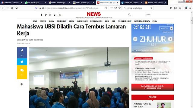 Seminar Interview Kerja - Universitas Bina Sarana Informatika Hendri Bun