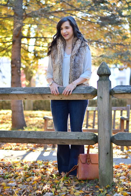 Fall Brown Faux Fur Vest and Flares