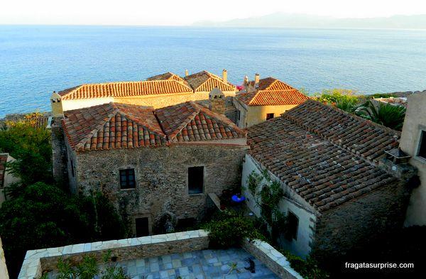 Vila medieval de Monemvasia, no Sul do Peloponeso, Grécia